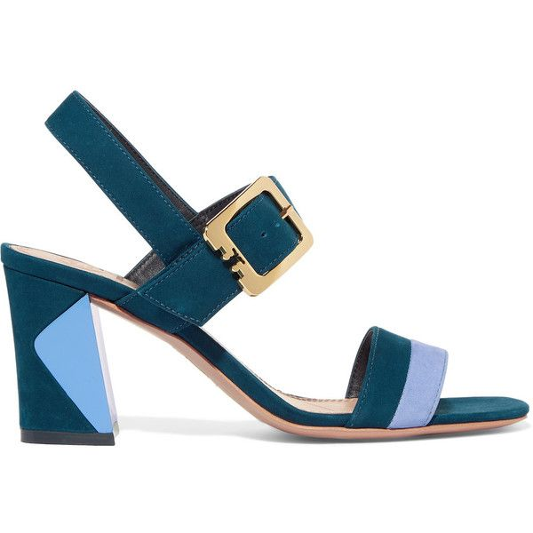 Tory Burch Palermo two-tone suede sandals (€170) ❤ liked on Polyvore featuring shoes, sandals, heels, royal blue, high heel shoes, strap sandals, strappy sandals, strap high heel sandals and strappy high heel sandals