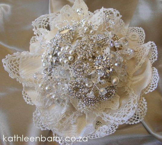 #wedding #broach #bouquet from Kathleen Barry Jewelry R2500 - Vintage Lace Collection - Heirloom Bouquet - Crystal, Diamante & Pearl