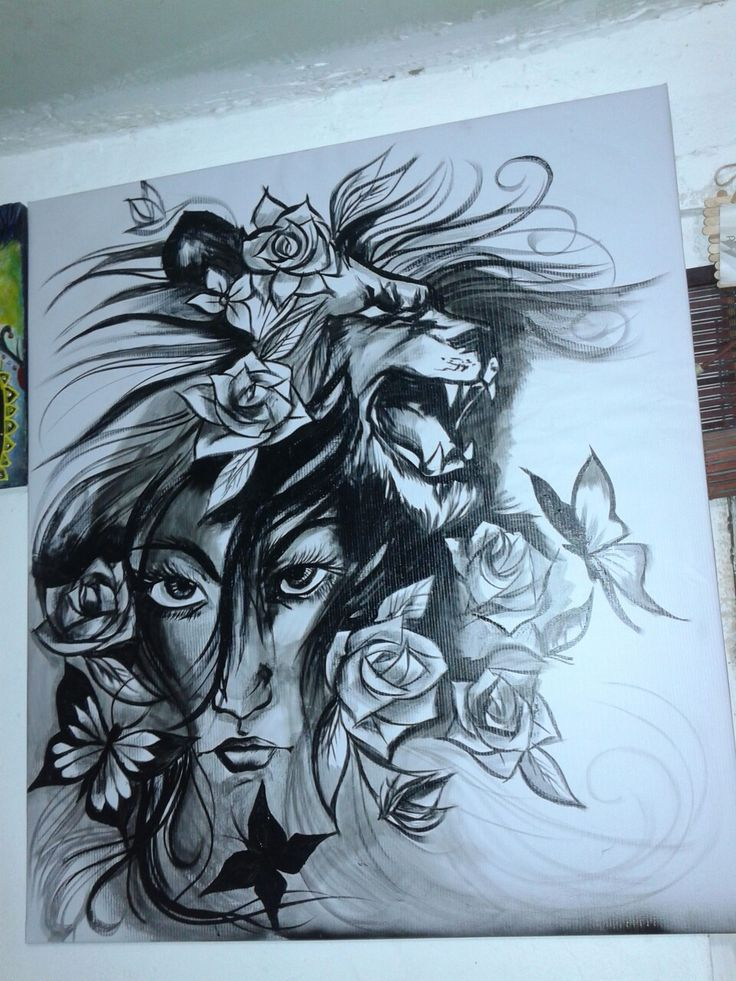 Lienzo...dibujo a pincel pintura acrilica