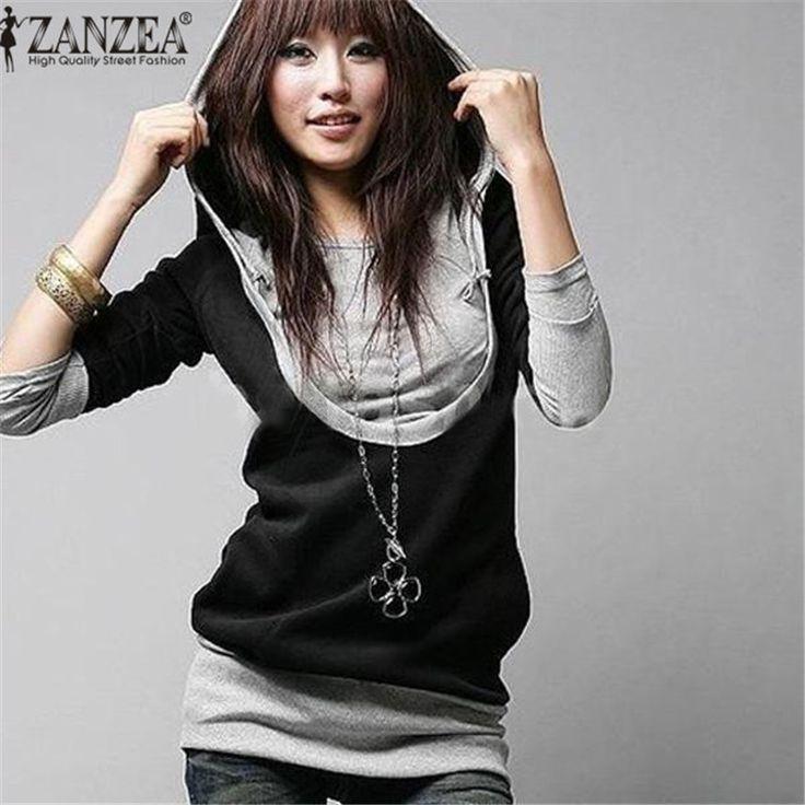 Zanzea wanita palsu 2 pieces kaus pullover 2017 musim gugur hoody lengan panjang patchwork hoodies longgar panjang tops jumper plus ukuran