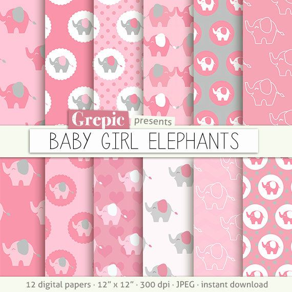 Pink elephant: digital paper BABY GIRL ELEPHANTS papers  pink patterns  elephant nursery  light pink girls  backgrounds  pink nursery #clipart #download