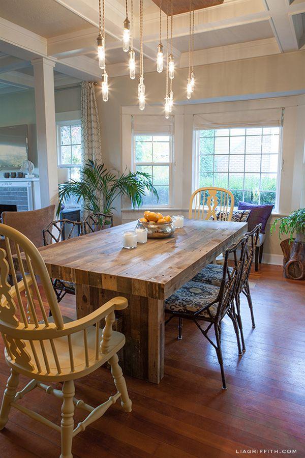lia griffith designer dining room west elm rustic emmerson farm table chandelier diy