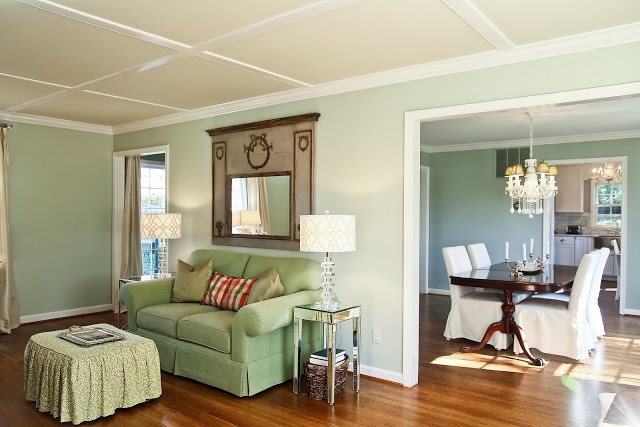 Living room wall color is benjamin moore paint Benjamin moore country green