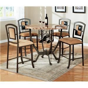Heather 5 Piece Counter Height Table And Upholstered Chairs Set By Crown Mark At Del Sol
