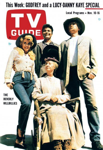 "TV Guide, November 10, 1962 - Donna Douglas, Irene Ryan, Max Baer Jr., and Buddy Ebsen of ""The Beverly Hillbillies"""