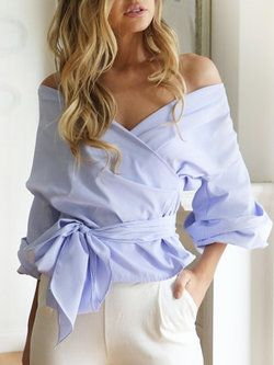 Solid Surplice Neck Balloon Sleeve Blouse with Belt