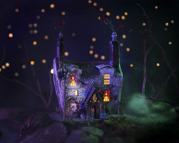 "Miniature housemodel called ""Tiny"" inspired by architecture in England #diorama #modelmaking #diorama by Katarina Pridavkova 2017  #mixedmedia #moviemaking"