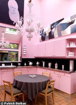 Pink kitchen of designer Hilton McConnico in his home of Bagnolet, France