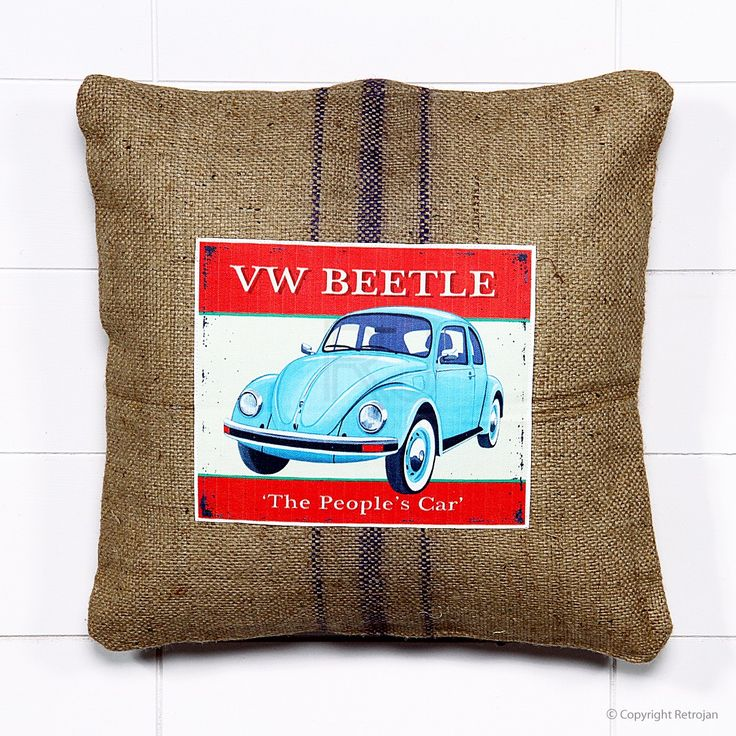 Jute Vintage Car Cushion - VW Beetle | RP: $34.99, SP: $17.99