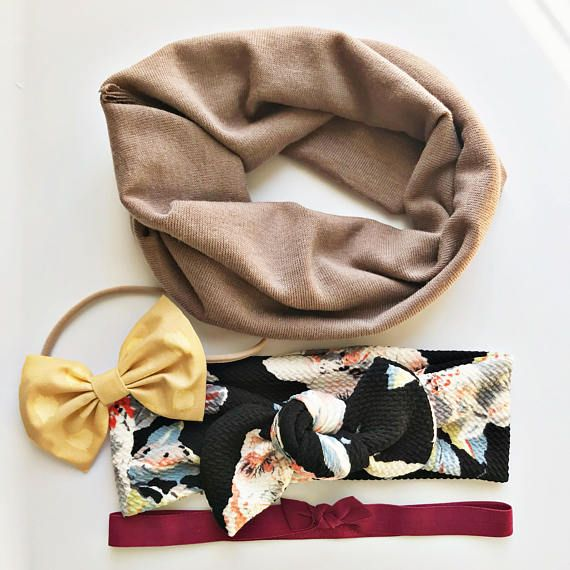 • Fan Favorites Set• {4 Items} Jumpstart your baby girl's fall outfit with these! Cocoa baby scarf, Maize Baby Bow, Midnight Garden Baby Top Knot & Merlot Elastic headband. Available size newborn through 5t.