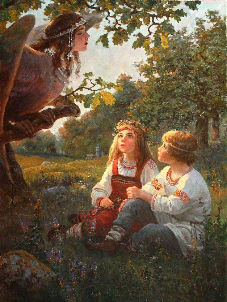 Купало и Кострома - художник Андрей Шишкин Купало - в славянской мифологии брат близнец Костромы. Оба они дети богини Ночи Купальницы и Семаргла.