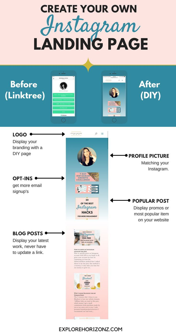 How To Make A Landing Page For Your Instagram Bio Link Instagram Marketing Tips Instagram Business Instagram Marketing Strategy