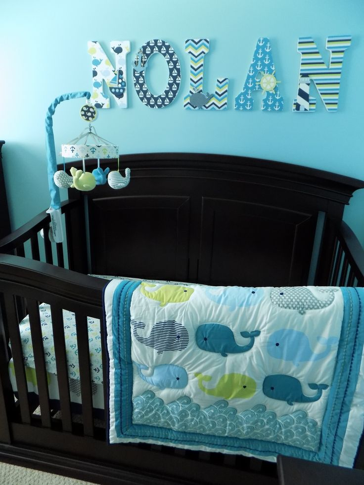Nolan's crib...whale/anchor bedding from Target