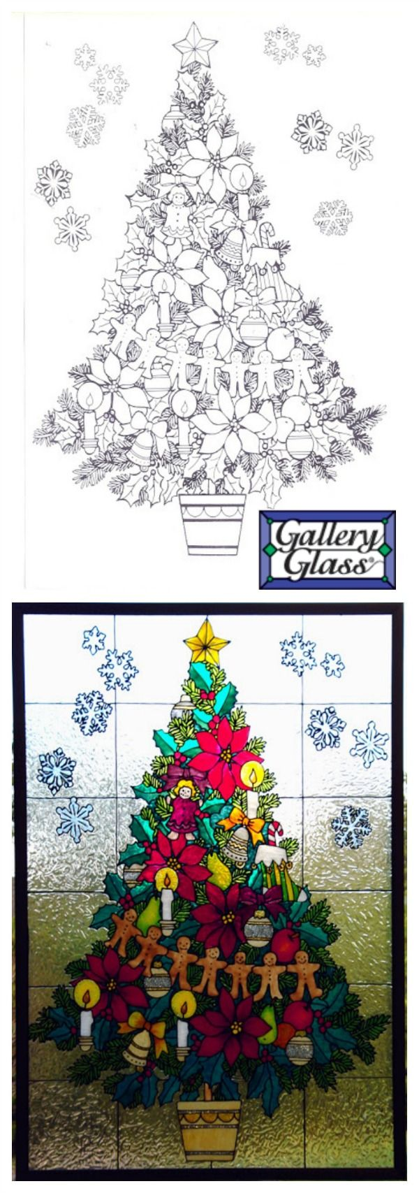 Stained Glass Christmas Tree window with Gallery Glass - click thru for the full how to!