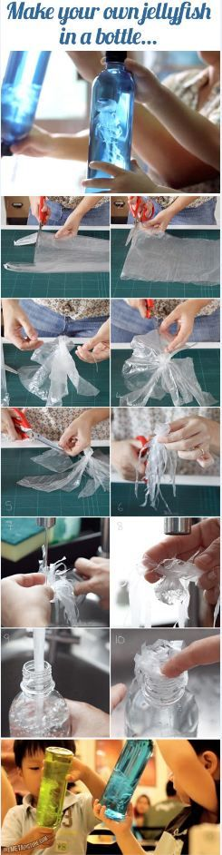 Reuse of Plastic Bag and Bottle to Make this Jellyfish live...These 4 DIY Crafts For Kids Are The Most Fun Crafts To Try #diykidscrafts