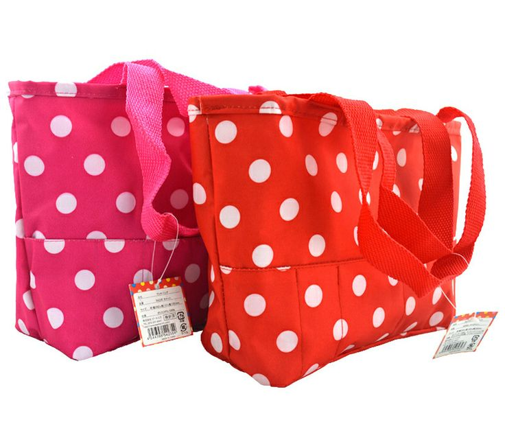 Red & Pink White Dot Children Lunch Bags for Kids Portable Picnic Bag Shopping Bag for Women Lunch Totes for Girls(China (Mainland))