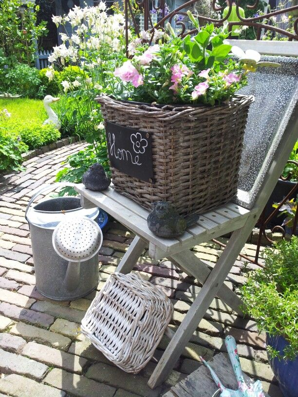 Summer.  Make a chalk board sign to put on a baskets with plant.