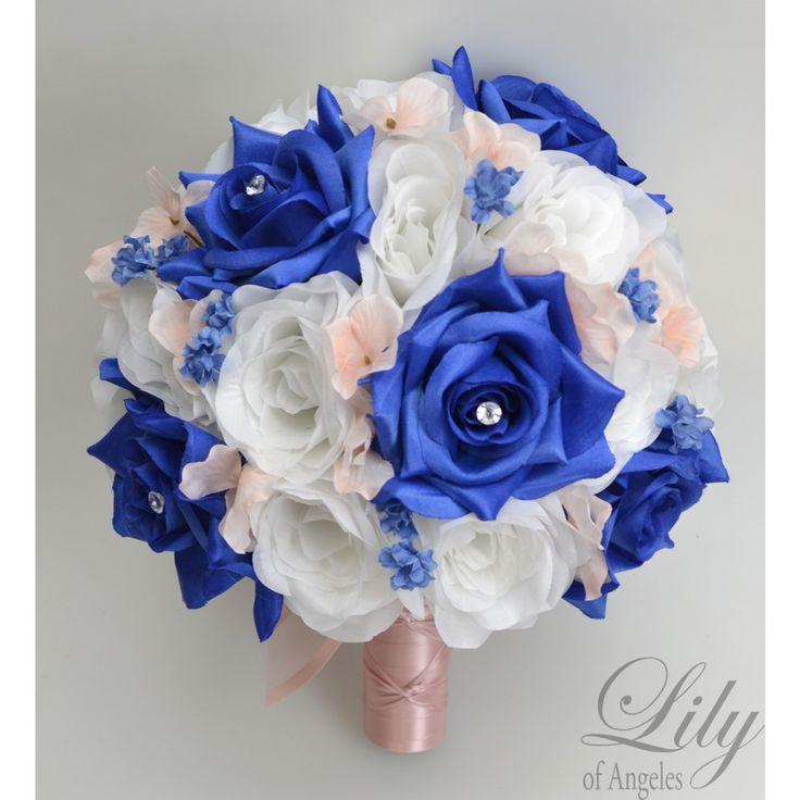 Blush white royal blue bridal bouquet bride bouquets