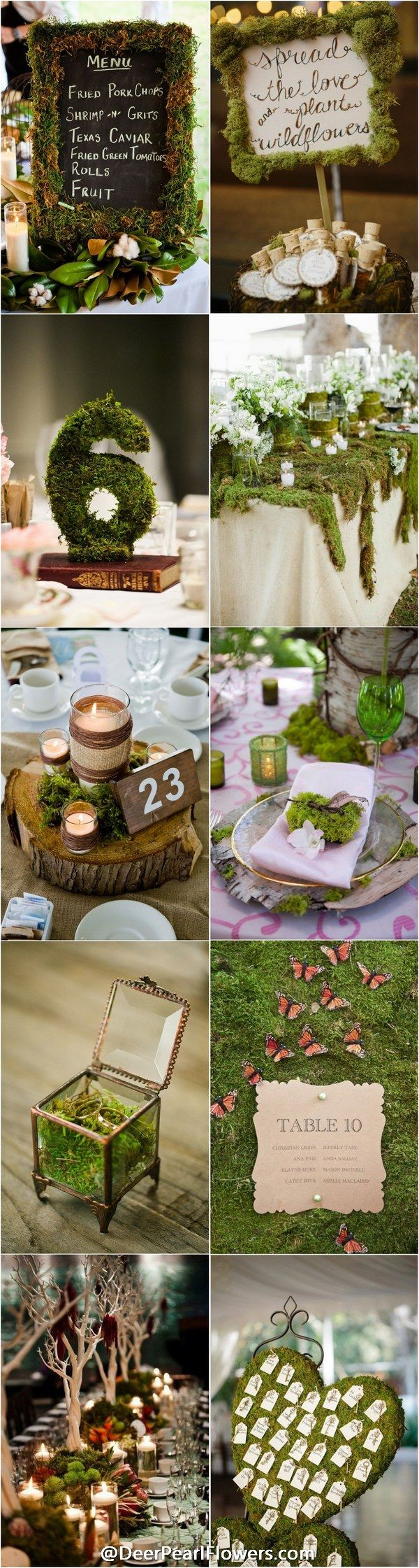 rustic greenery moss wedding ideas / http://www.deerpearlflowers.com/moss-decor-ideas-for-a-nature-wedding/