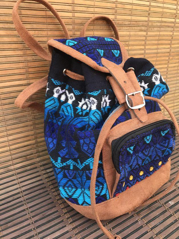 Verstaut alles was Du fürs Festival brauchst : blauer Rucksack im Ethno Muster und braunen Lederdetails/ festival backpack with ethno prints and brown leather details made by Guatemundo via DaWanda.com