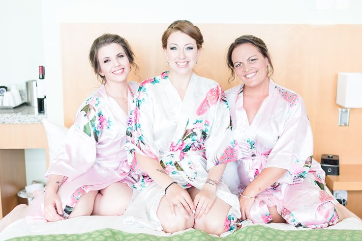 Blush floral bridesmaids robes, PEI wedding photos