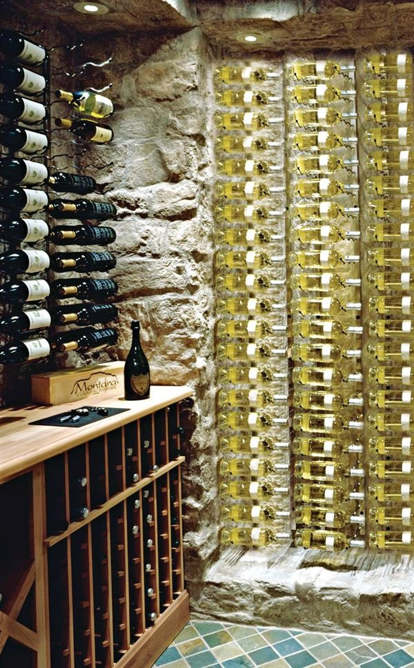 Vertical display idea like the stone walls wine for Wine cellar pinterest