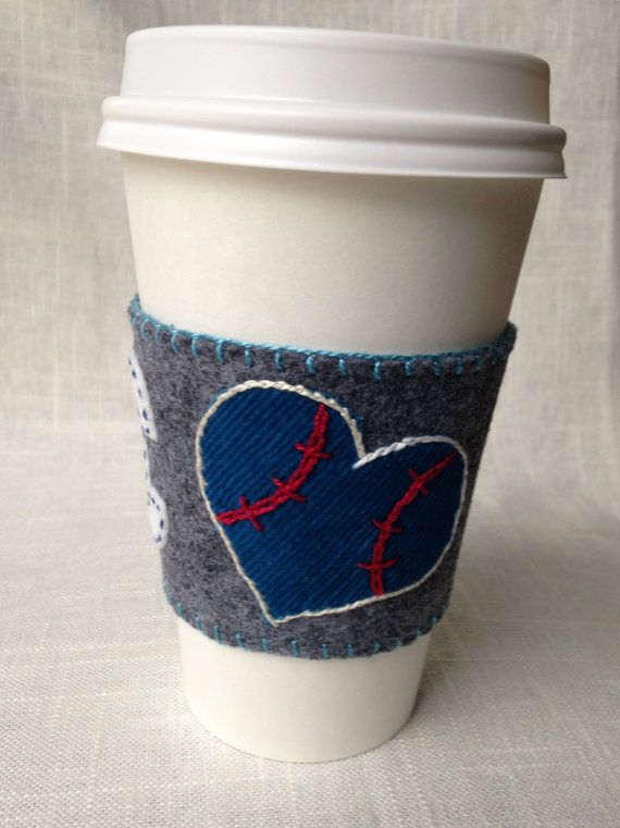 Handmade cup sleeve for hot to-go coffee/tea by kbnotions on Etsy