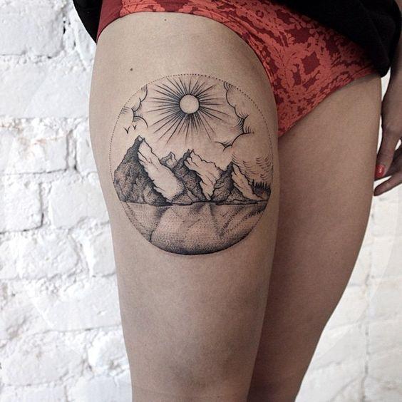 Linework Mountain Thigh Tattoo