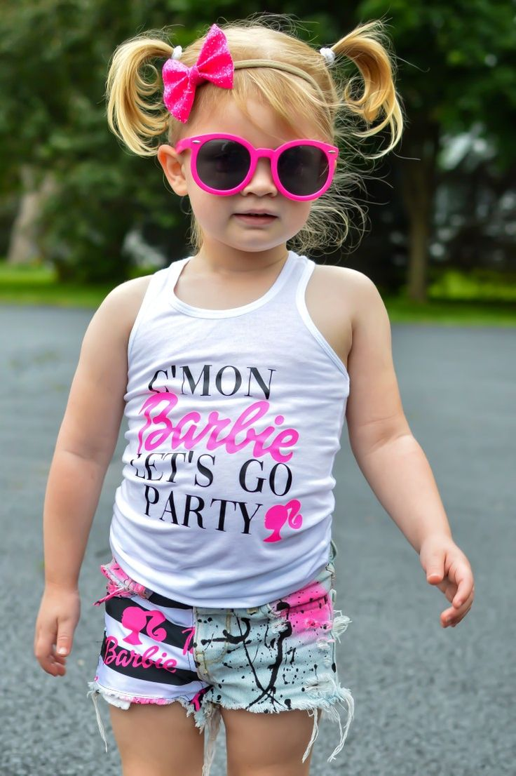 Barbie girl tank top and shorts birthday party outfits