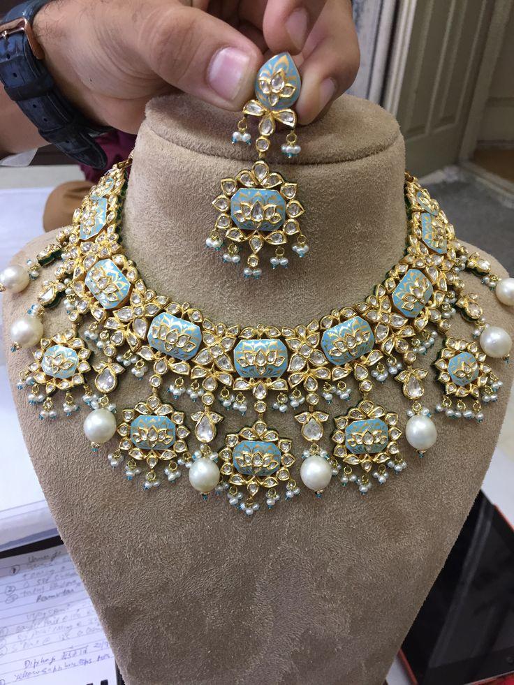 Feroze Meena necklace with rose cut diamonds