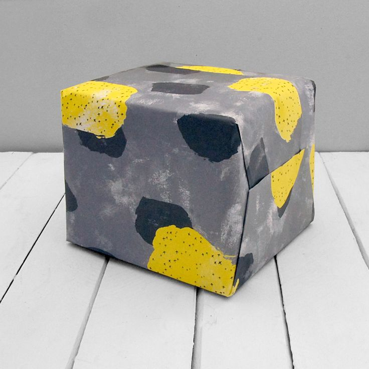 Image of Yellow and Grey Wrapping Paper - 3 Large Sheets