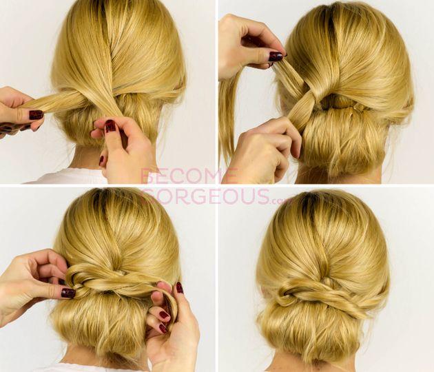 Easy Updo Hair Tutorial Steps | hair | Pinterest | Bun ...
