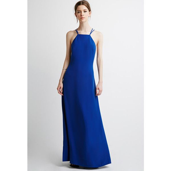 Love 21 Women's  Contemporary Strappy Halter Maxi Dress ($21) ❤ liked on Polyvore featuring dresses, halter dress, slimming dresses, halter neck maxi dress, halter top maxi dress and strappy maxi dress