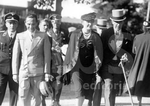 Joseph and Magda Goebbels with Franz von Papen at a racetrack in Hoppegarten near Berlin in 1937