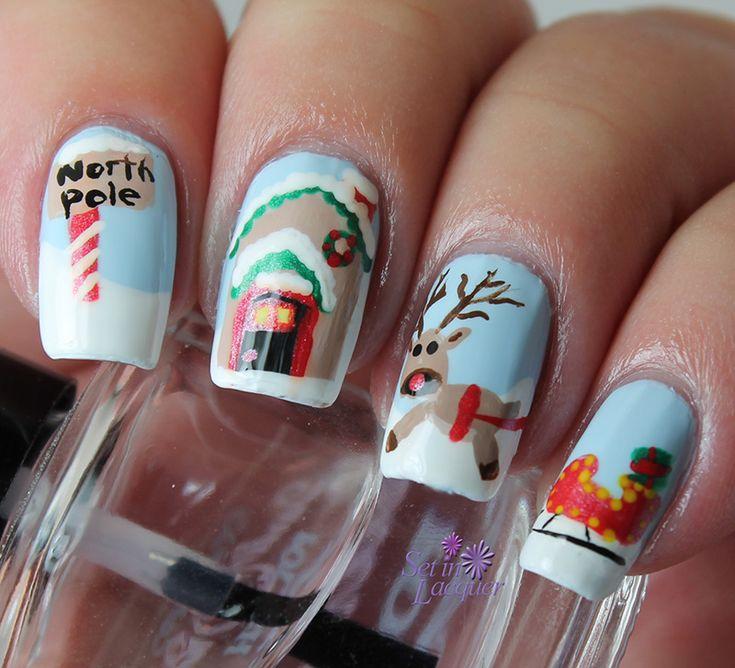 North Pole nail art