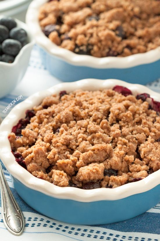 Healthier Blueberry Crisp from @texanerinbaking