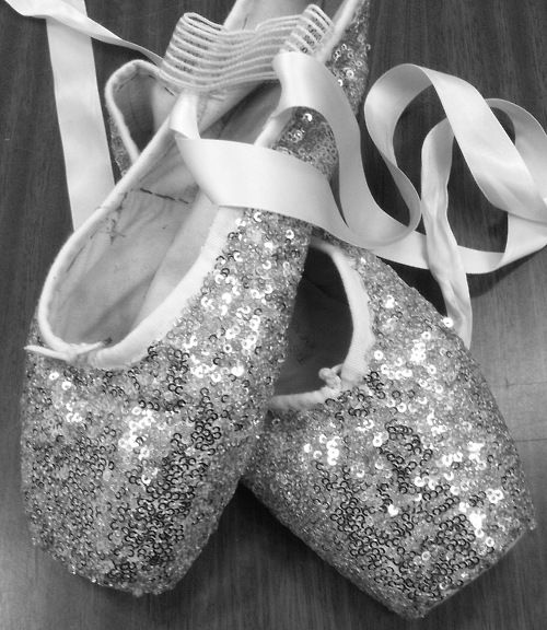 Glittery pointe shoes
