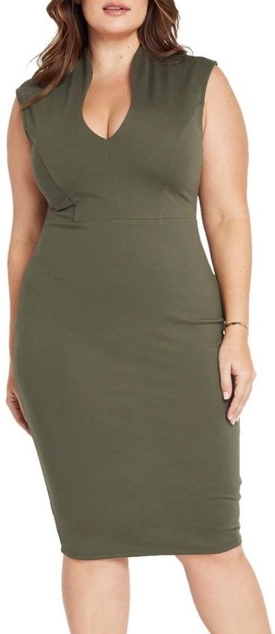 Spade Game (Plus) (Olive)-Great Glam is the web's best sexy plus size online store clothing website for 1X 2X and 3X clothes for women and juniors.