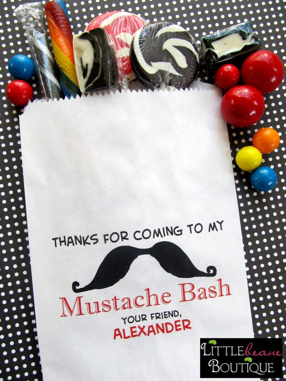 mustache candy buffet | Mustache Candy Bags, Mustache Birthday party, Favor bags, Candy Buffet ...