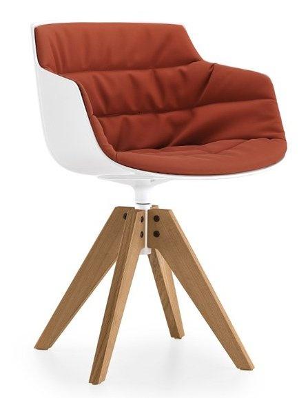 Swivel chair on trestle base FLOW SLIM ARMCHAIR by MDF Italia | #design Jean-Marie Massaud