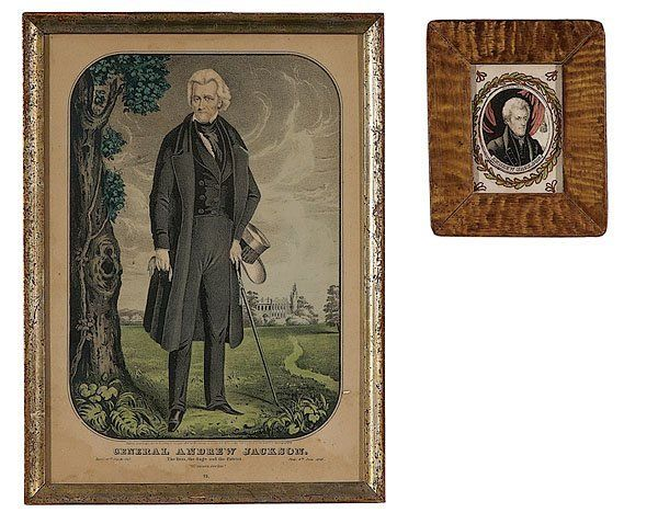 Andrew Jackson Currier Print & Watercolor,  hand-colored small folio lithograph with touches of gum arabic
