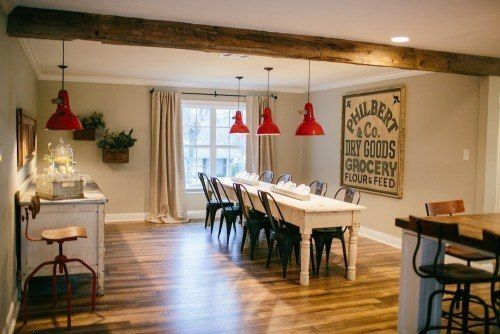 3For the interior, Joanna wanted to incorporate antique pieces and fun pops of color. Chip installed antique brick pavers in the entryway to tie into the other antique elements in the home, and Joanna selected a pair of beautiful green antique doors from Round Top for the entrance to the office. Originally, the house had a very long room that was designed to be the formal dining and living room.