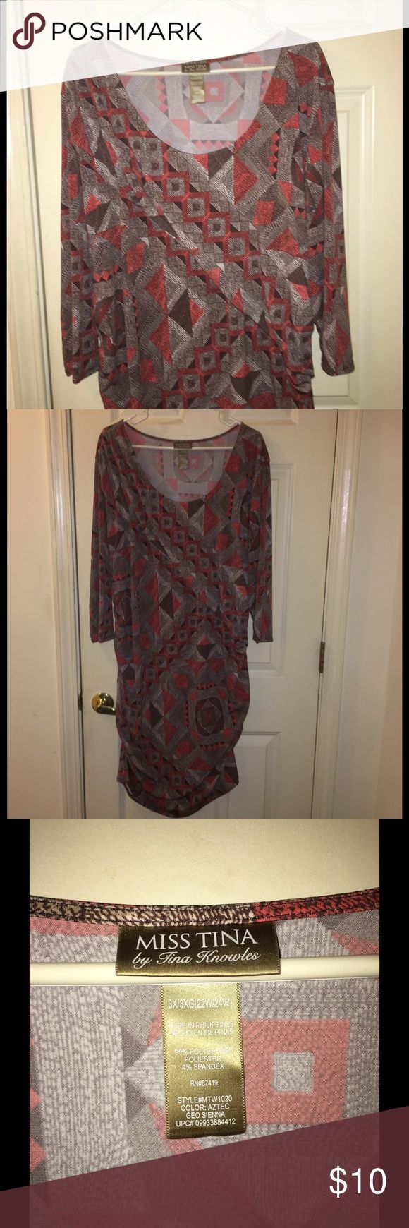 Miss Tina 3X Brown Bodycon Style Dress Brown patterned Bodycon style dress.  Dress has rucking on the sides for a slimming fit.  Long sleeves.  Size 3X. From Miss Tina.  Great condition. Important:   All items are freshly laundered as applicable prior to shipping (new items and shoes excluded).  Not all my items are from pet/smoke free homes.  Price is reduced to reflect this!   Thank you for looking! miss tina Dresses Midi