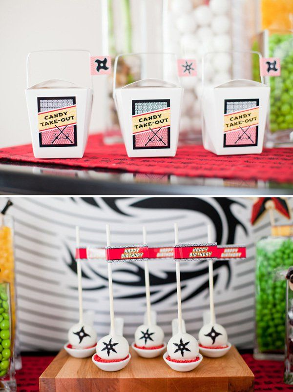 "Creative Ninja Birthday Party Ideas: candy sushi, bamboo centerpieces, shuriken cake, candy ""take-out"" station, ninja party games, & more!"