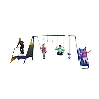 The largest of our swing sets, this 6 station unit offers plenty of features for outdoor play and adventure. It has been designed to be used safely by up to 7 children at one time, between the ages of 3-8 years, with a maximum weight of 45kg each.   The components include:•6 foot wave slide  •2 contoured swing seats  •Trapeze with handles •2 person glide ride  •side trampoline  Anchors are not included.The assembled size of the swing set is: 490cm (W) x 189cm (H) x 259cm (D) $199