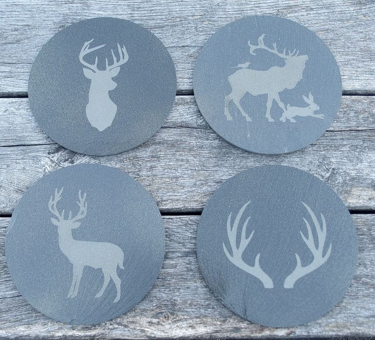 """9"""" engraved slate placemats. Available as a set of four different designs or a set of a single design"""