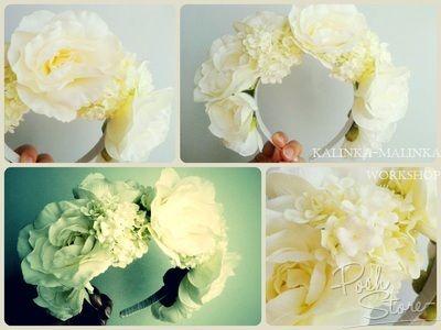 фото Обруч Белая камелия и садовая гортензия