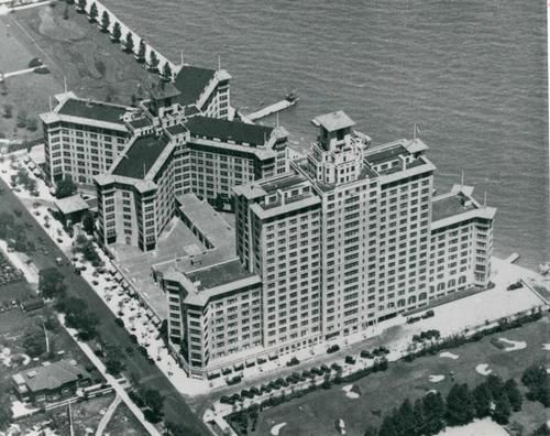 Aerial of the Edgewater Beach Hotel in it's heyday, 1924, Chicago.