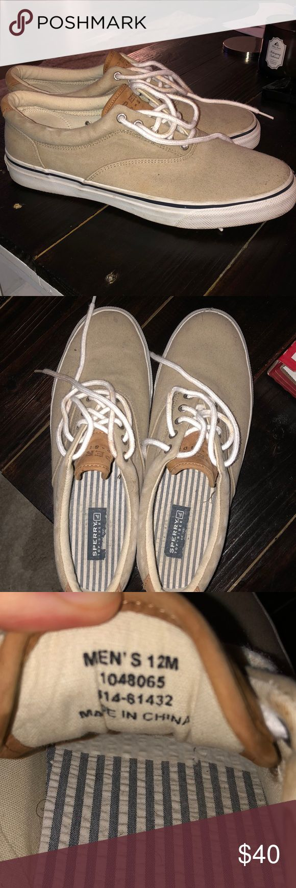 Tan Men's Sperry Top-Sider Men's Sperry sneaker. Worn very few times. A few stains but could easily be scrubbed out! Price negotiable! Sperry Shoes Sneakers