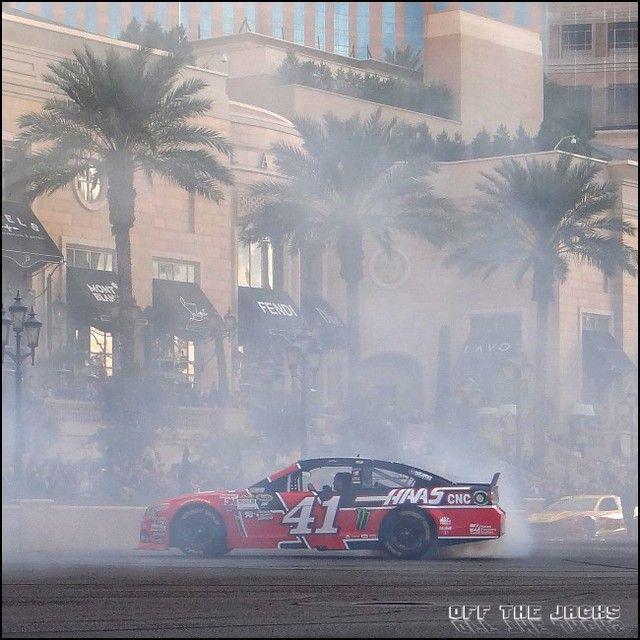 Tony Stewart rollin the smoke on The Las Vegas Strip #ChampionsWeek 2015. #Nascar #Las Vegas #HassRacing
